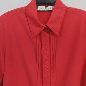 Red long sleeve Blouse -sz.16 Embroidered collar